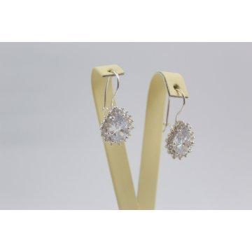 Дамски сребърни обеци с бели камъни Принцеса 3380