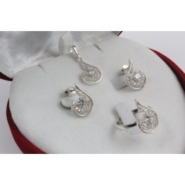 Дамски сребърен комплект с бели камъни Блясък обеци пръстен медальон 3381