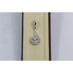 Дамски сребърен медальон с бели камъни 3382