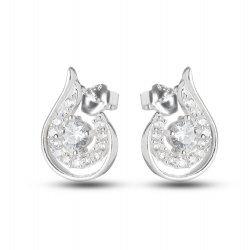 Дамски сребърни обеци с бели камъни 3383