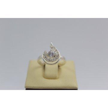Дамски сребърен пръстен с бели камъни Блясък 3384