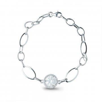 Дамска сребърна гривна с бели камъни Баронеса 4515
