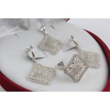 Дамски сребърен комплект с бели камъни Баронесата обеци пръстен медальон 3385