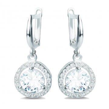 Дамски сребърни обеци с бели камъни Баронеса 3387