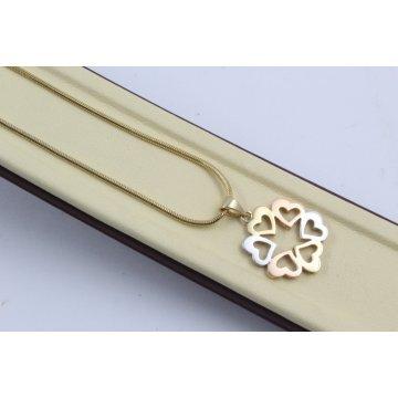 Дамско златно колие с медальон от сърца три цвята злато 3391