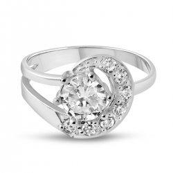 Дамски сребърен пръстен с бели камъни 3407