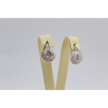 Дамски сребърни обеци с бели камъни 3405