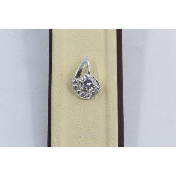 Дамски сребърен медальон с бели камъни 3406