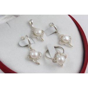 Дамски сребърен комплект с бели камъни и перли 3408