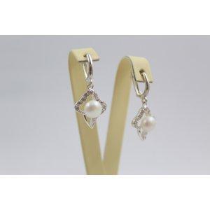 Дамски сребърни обеци с перли и циркони 3409