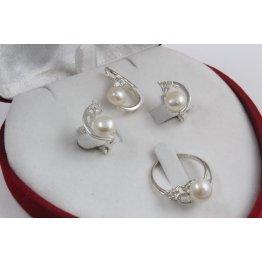 Дамски сребърен комплект с бели камъни и перли пръстен обеци медальон 3412