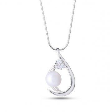 Дамско сребърно колие с бяла перла и бял камък 5066