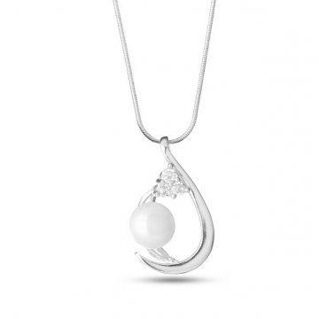 Дамски сребърни обеци с перли 3413