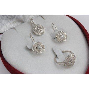 Дамски сребърен комплект с бели циркони 3417