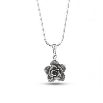 Дамско сребърно колие тъмно сребро Роза 4490