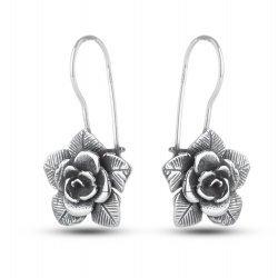 Дамски сребърни обеци тъмно сребро Рози 4518