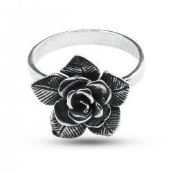 Дамски сребърен пръстен тъмно сребро Роза 794