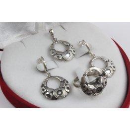 Дамски сребърен комплект тъмно сребро 3442