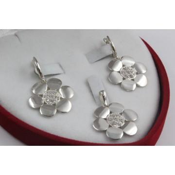 Дамски сребърен комплект с бели камъни 3449
