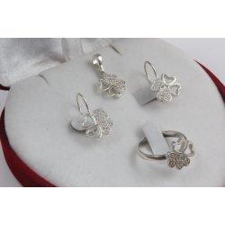Дамски сребърен комплект Четирилистни Детелини бели камъни 3450