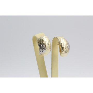 Златни обеци английско закопчаване бяло жълто злато 3460