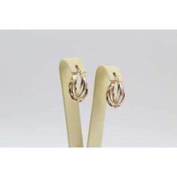 Златни дамски обеци тип халки жълто бяло розово злато 3464
