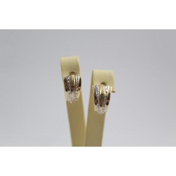 Златни дамски обеци бяло жълто злато 3465
