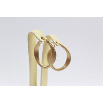 Златни дамски обеци халки жълто матирано злато 3466