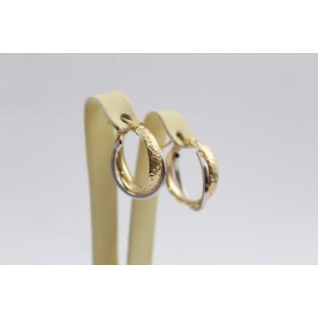Дамски златни обеци хали жълто и бяло злато 3471