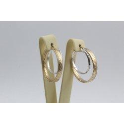 Златни дамски обеци бяло жълто злато 3473
