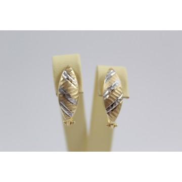 Златни дамски обеци бяло жълто злато 3474