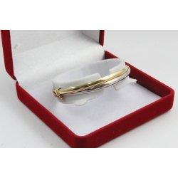 Дамска златна твърда гривна бяло жълто злато 3478