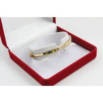 Златна женска твърда гривна бяло и жълто злато 3482