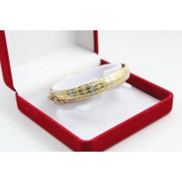 Дамска златна твърда гривна бяло жълто злато 3484