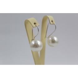 Сребърни дамски обици с бели перли 350