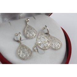Дамски сребърен комплект с бели камъни Контеса 3502