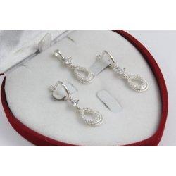 Дамски сребърен комплект с бели камъни обеци и медальон 3503