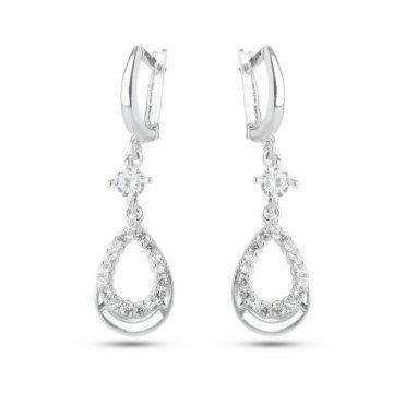 Дамски сребърни обеци бели камъни 4503