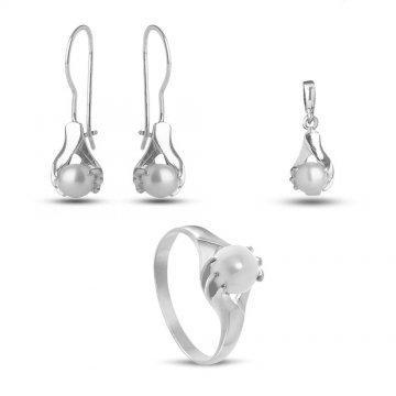 Дамски сребърен комплект с бели перли пръстен медальон обеци 3509
