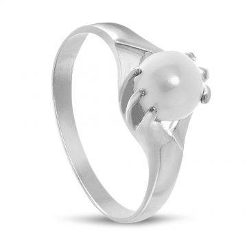 Дамски сребърен пръстен с бяла перла 1874