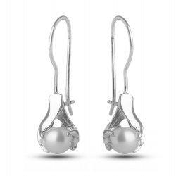 Сребърни дамски обици с бели перли 351