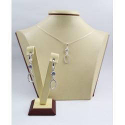 Дамски сребърен комплект с бели камъни обеци медальон 3513