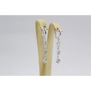 Дамски сребърни висящи обеци с бели камъни 3520
