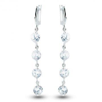 Дамски сребърни висящи обеци с бели камъни 3521