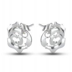 Дамски сребърни обеци Рози 2192