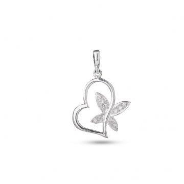 Дамски сребърен медальон Сърце с Крила 3527