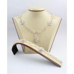 Дамски сребърен комплект Милена Роза колие и гривна 3566