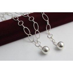 Дамски сребърен комплект с висящо топче Милена Ажур колие и гривна 3569