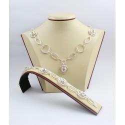 Дамски сребърен комплект Милена Роза 1 колие и гривна 3581