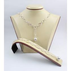 Дамски сребърен комплект Милена Ромб колие и гривна 3584